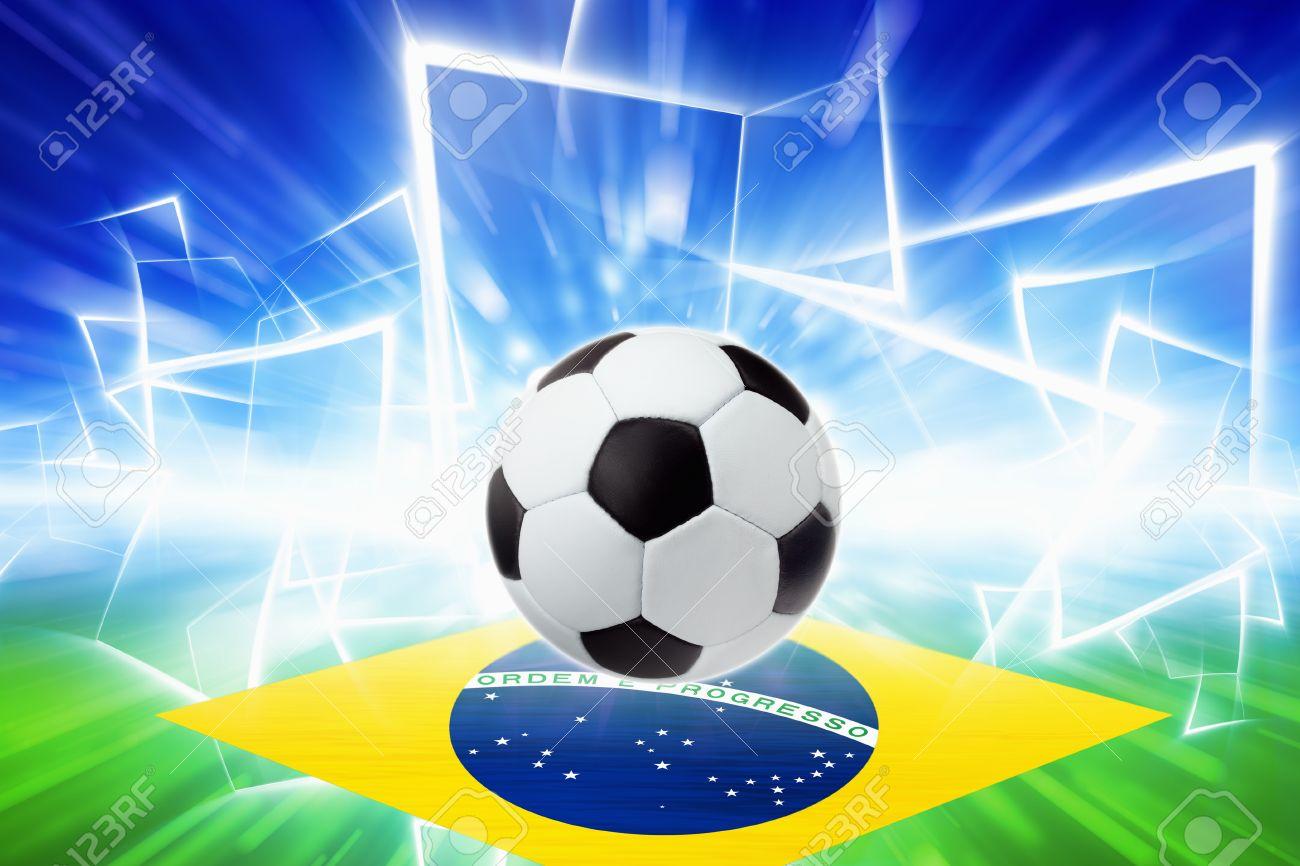 Soccer ball, brazil flag